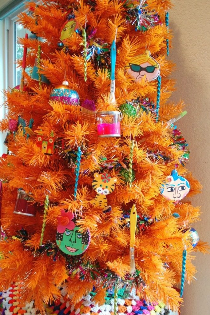 decorating the perfect art studio christmas tree by jennifer perkins - Orange Christmas Tree Decorations