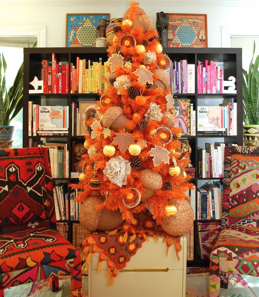 Orange tree for fall with giant acorns and afghan pieces by Jennifer Perkins