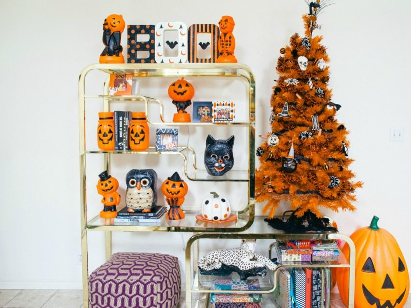 Spooky Orange Christmas Tree for Halloween by Jennifer Perkins