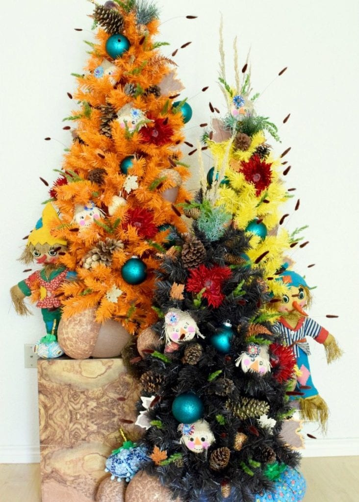 fall colored christmas trees as thanksgiving decorations by jennifer perkins