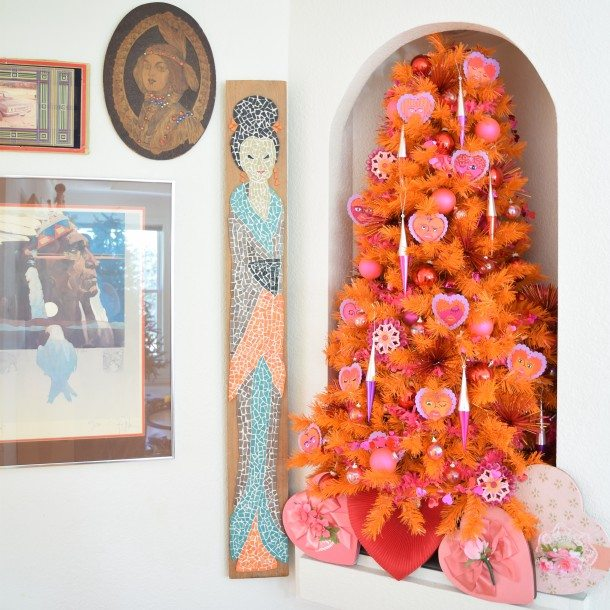 orange and pink Valentine's Day Tree by Jennifer Perkins