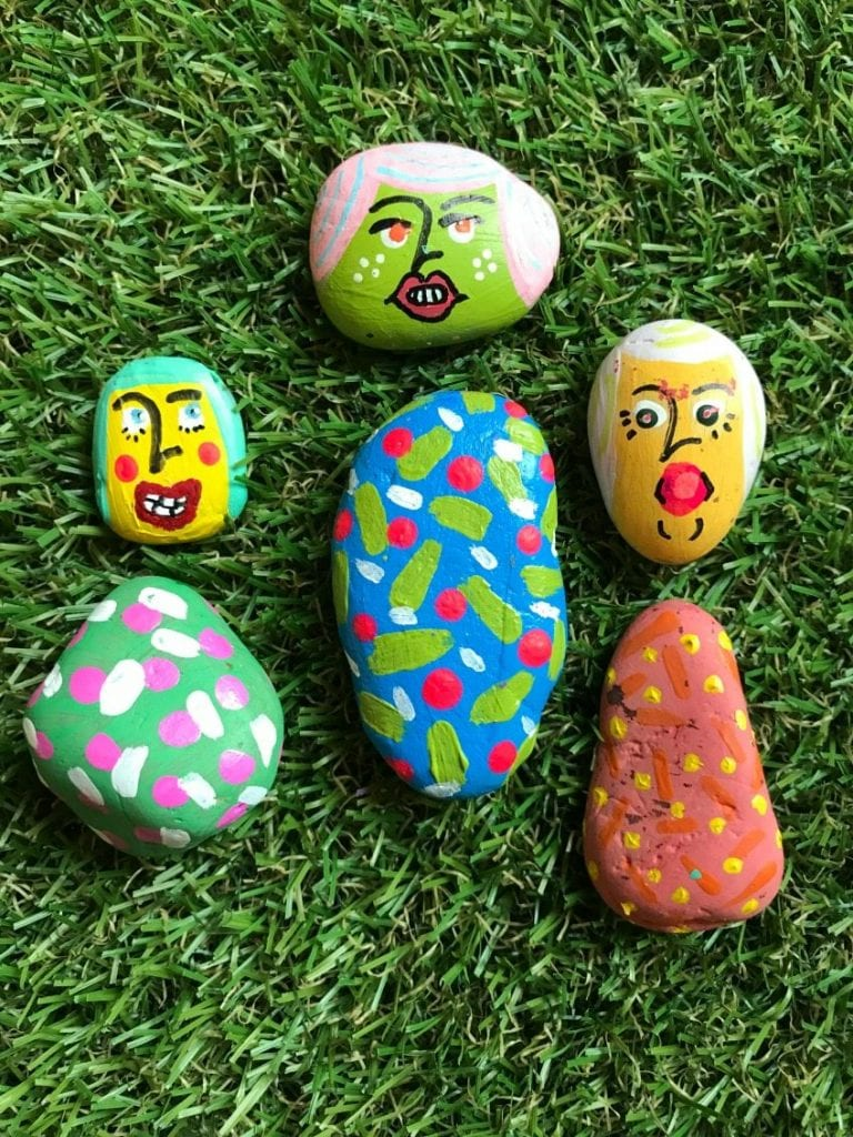 Easy DIY painted rock mix and match paper dolls by Jennifer Perkins