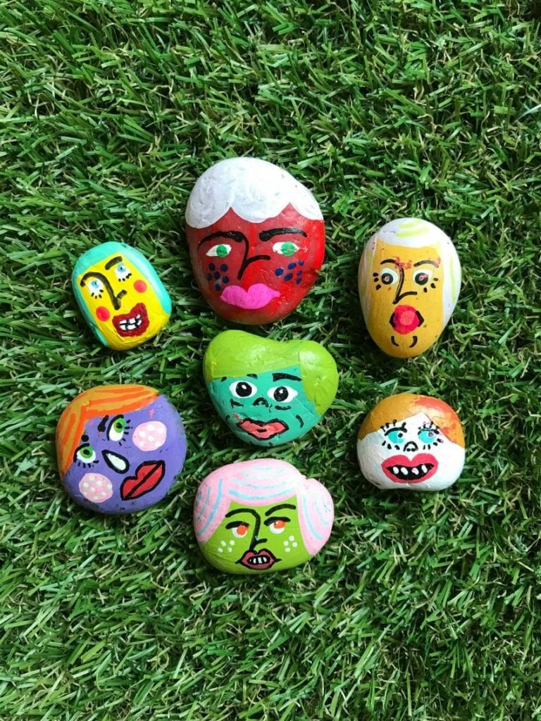 DIY Painted rock paper doll heads by Jennifer Perkins
