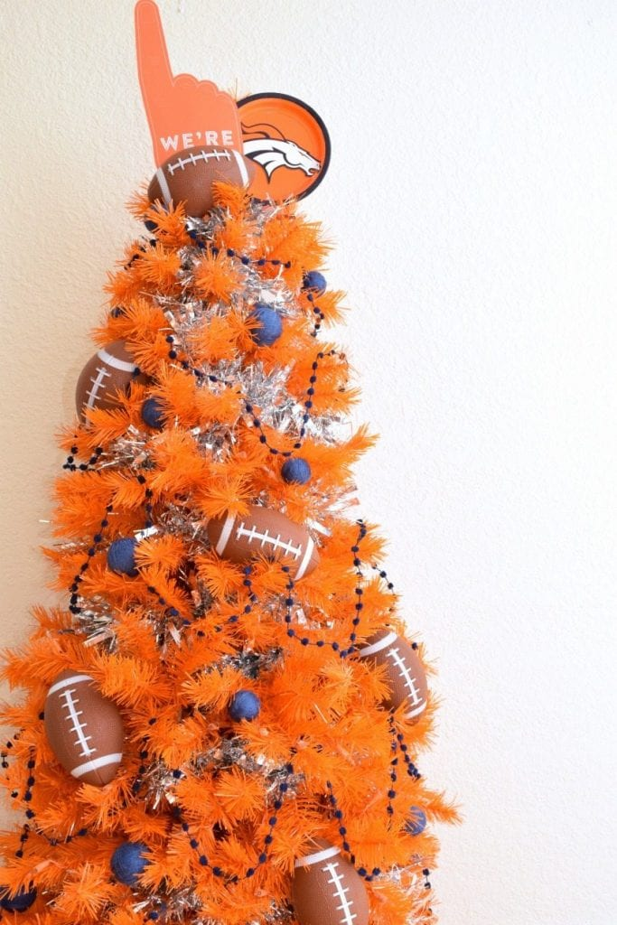Denver Broncos Themed Orange Christmas Tree for the Super Bowl by Jennifer Perkins