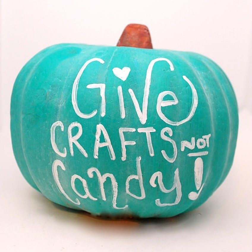 Chalk board paint covered pumpkins for Halloween and the teal pumpkin project by Jennifer Perkins