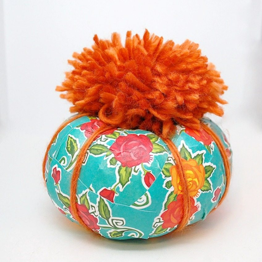 How to decoupage a teal pumpkin for Halloween by Jennifer Perkins