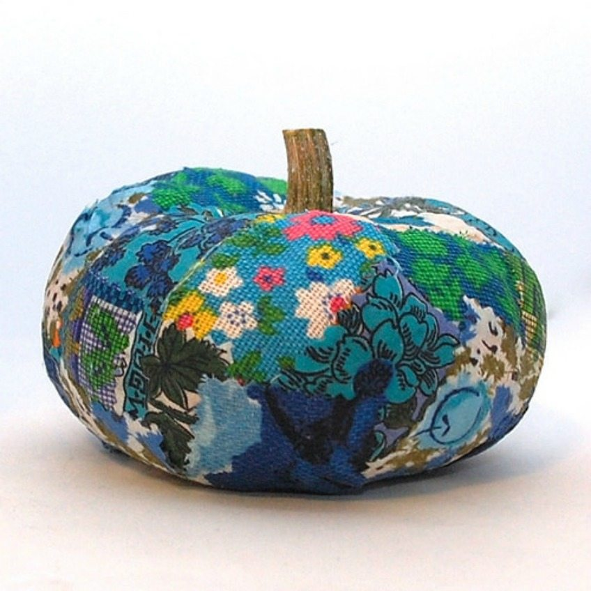 Teal Pumpkin for Halloween made with decoupaged fabric scraps by Jennifer Perkins
