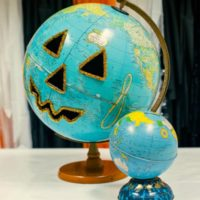 How to carve a globe into a jack-o-lantern for the Teal Pumpkin Project by Jennifer Perkins