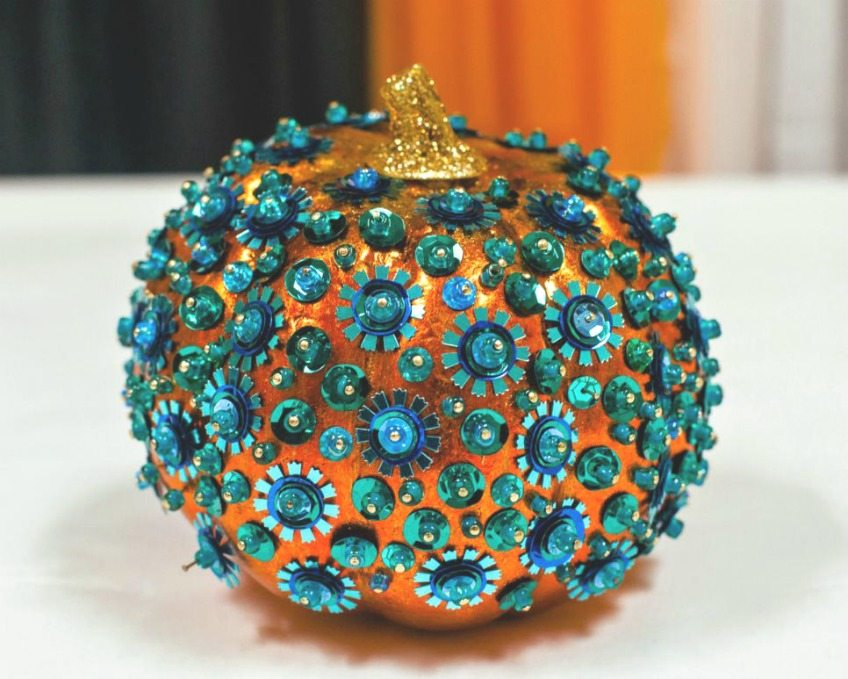 Cover a faux pumpkin in sequins for a sparkly Halloween by Jennifer Perkins