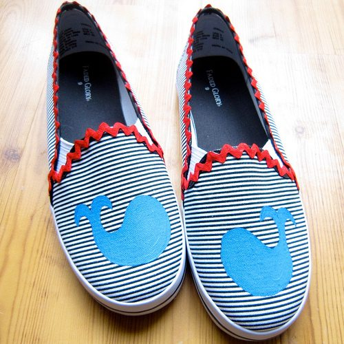 DIY boating shoes with whales by Jennifer Perkins