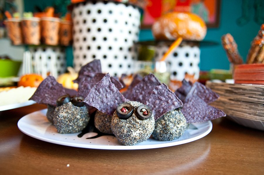 Halloween bat cheese balls by Jennifer Perkins