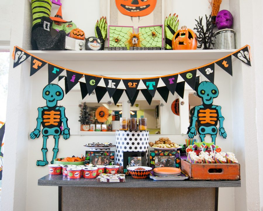 Colorful and fun Halloween party spread by Jennifer Perkins