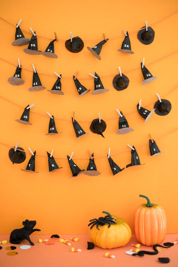 DIY witch hat Halloween advent calendar by Oh Happy Day
