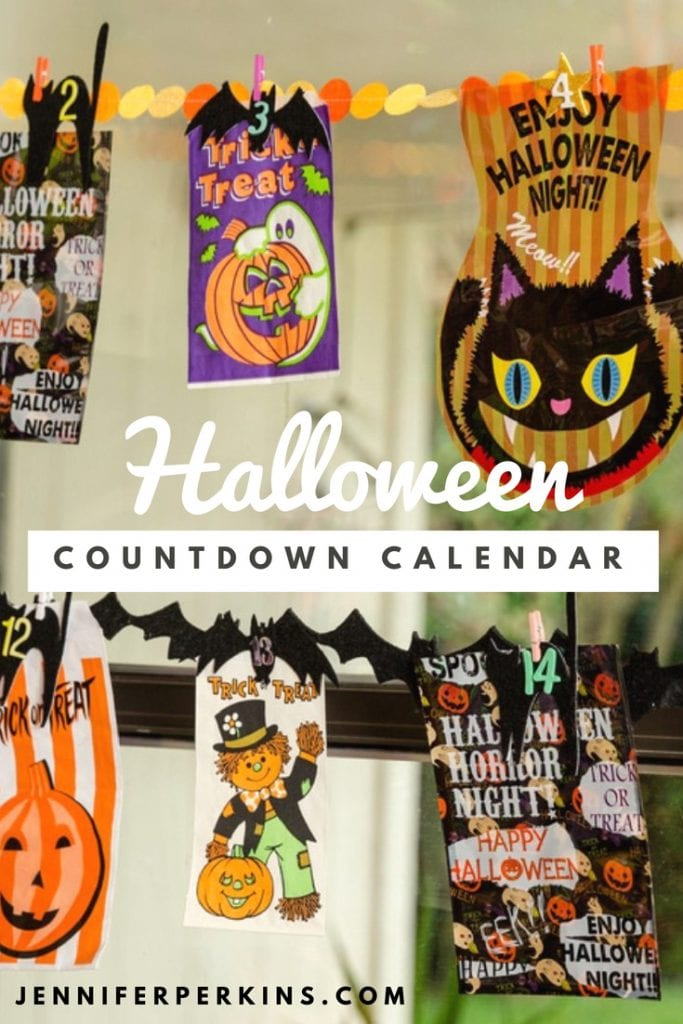 Collection of halloween goodie bags as an advent calendar