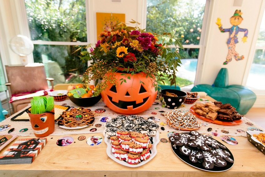 Halloween pumpkin planter centerpiece and treats by Jennifer Perkins