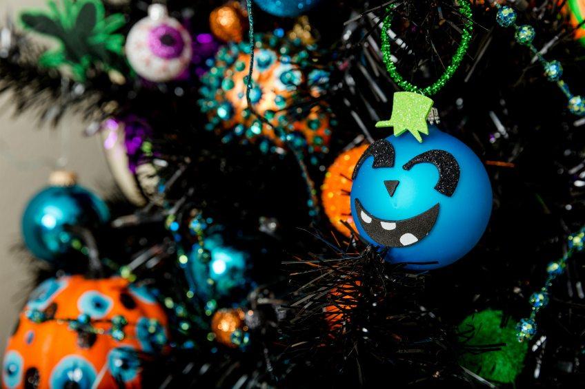 Teal pumpkin themed ornaments for a Halloween tree by Jennifer Perkins