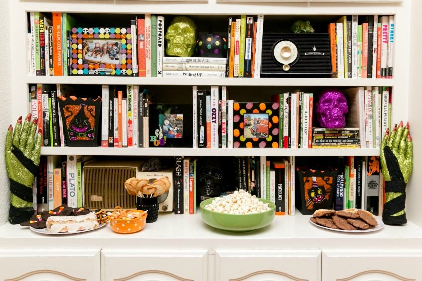 Halloween party food by the book shelves - Jennifer Perkins