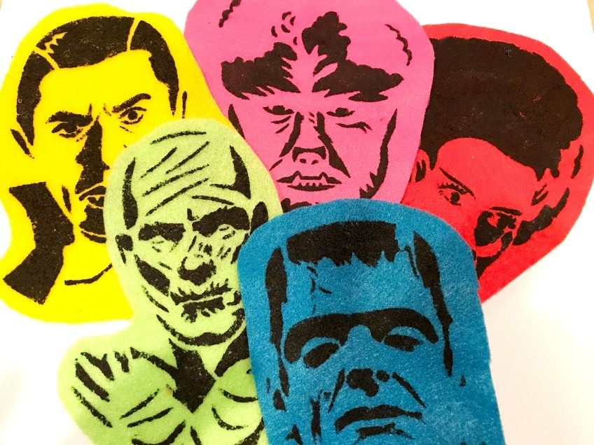 Classic horror movie monsters stenciled onto felt for Halloween ornaments by Jennifer Perkins