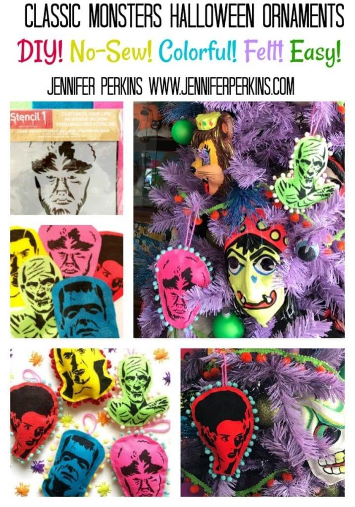 Easy no-sew DIY Felt Halloween tree monster ornaments by Jennifer Perkins