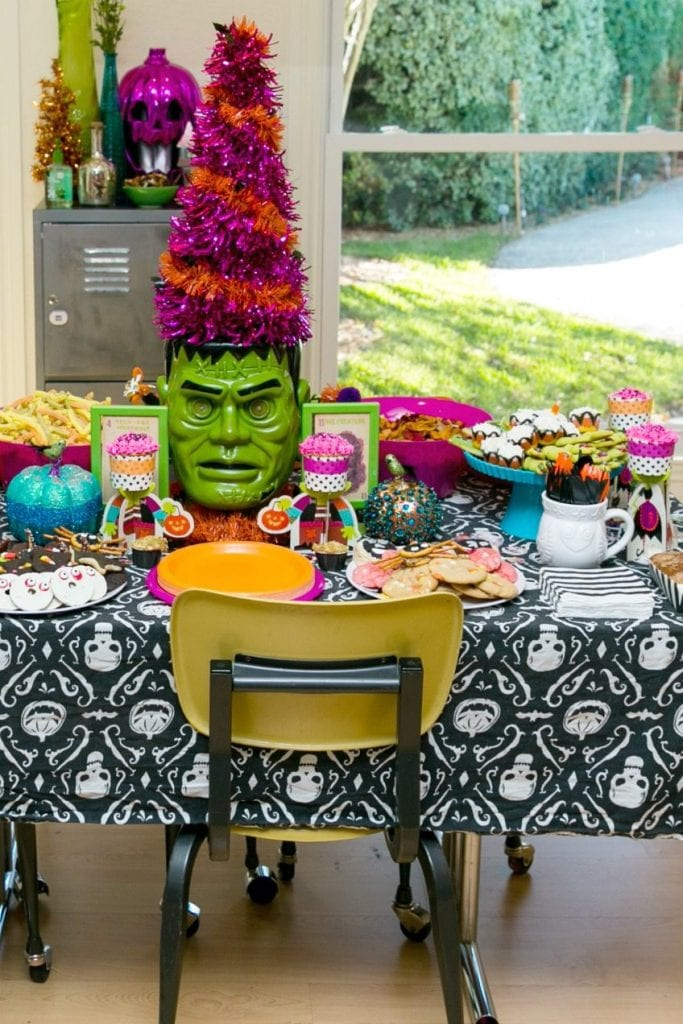 Frankenstein centerpiece at a Halloween party by Jennifer Perkins