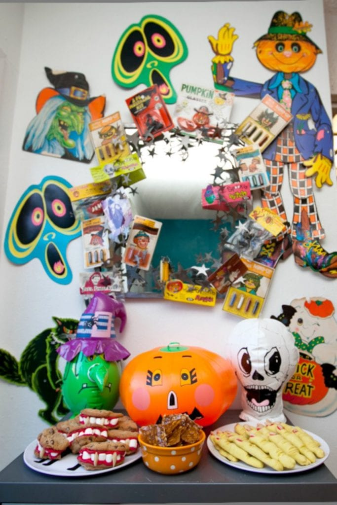 Funky retro Halloween treat table with vintage Halloween collectibles by Jennifer Perkins