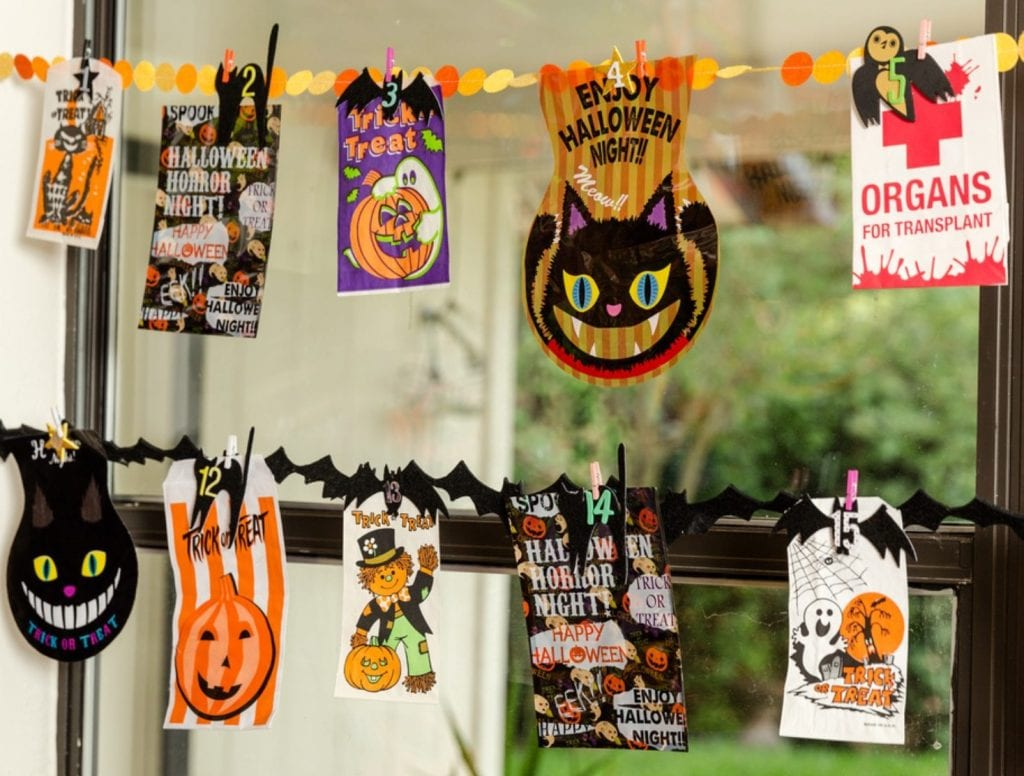 Halloween goodie bags on a felt banner