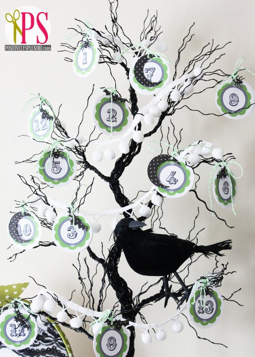 Halloween countdown tree from Positively Splendid