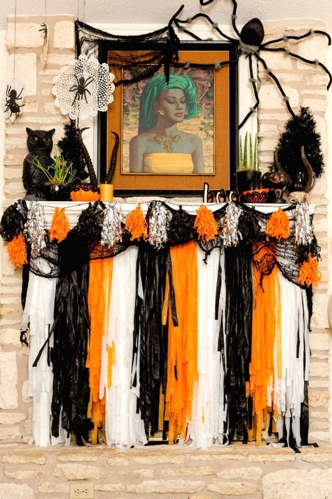 DIY fireplace screen and mantle decor for Halloween by Jennifer Perkins