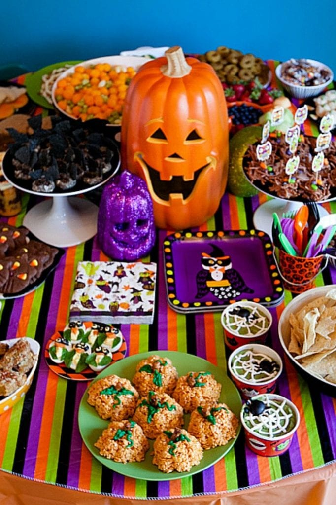 Purple and orange Halloween treat table by Jennifer Perkins