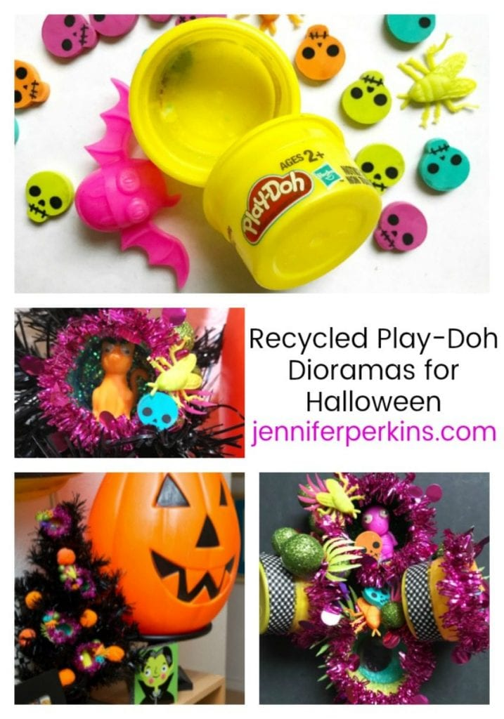Recycled Halloween Ornament Dioramas with the Kids Jennifer Perkins #halloween #recycled #halloweenornaments #dioramas