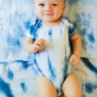 Easy DIY Shibori dyed onesie by Jennifer Perkins