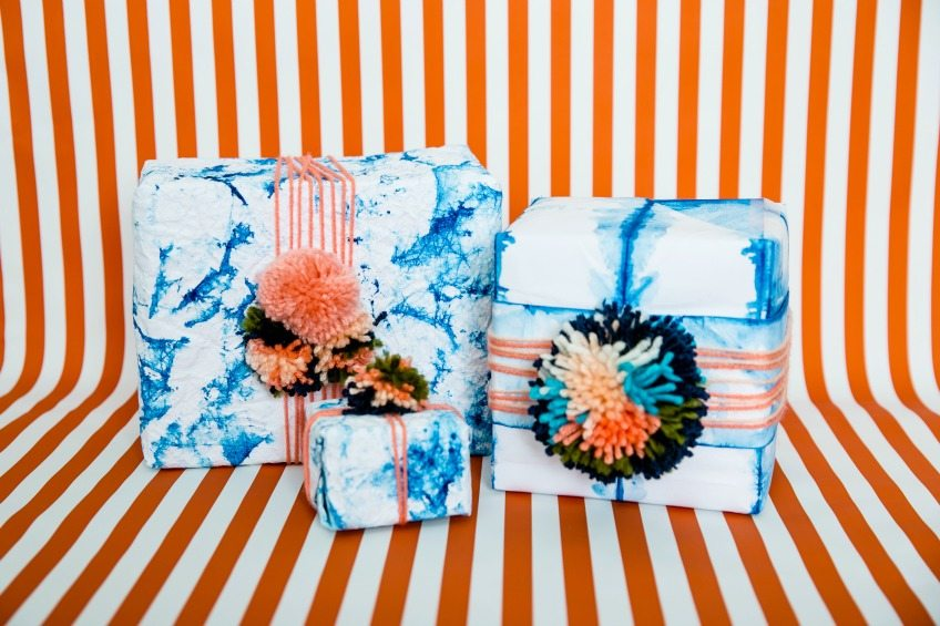 How to make your own shibori style gift wrap with watercolor paper by Jennifer Perkins