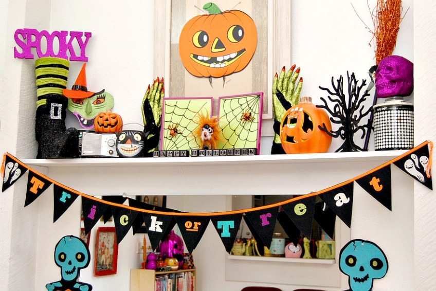 Purple orange and green Halloween vignette