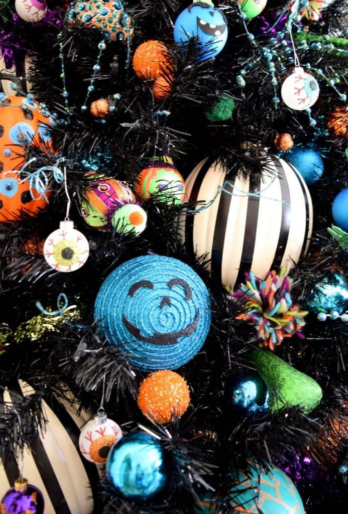 DIY teal pumpkin themed ornaments for a Halloween tree by Jennifer Perkins