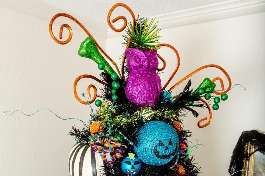 Halloween tree with a teal pumpkin theme by Jennifer Perkins