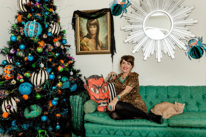Jennifer Perkins and her Teal Pumpkin themed Halloween tree.