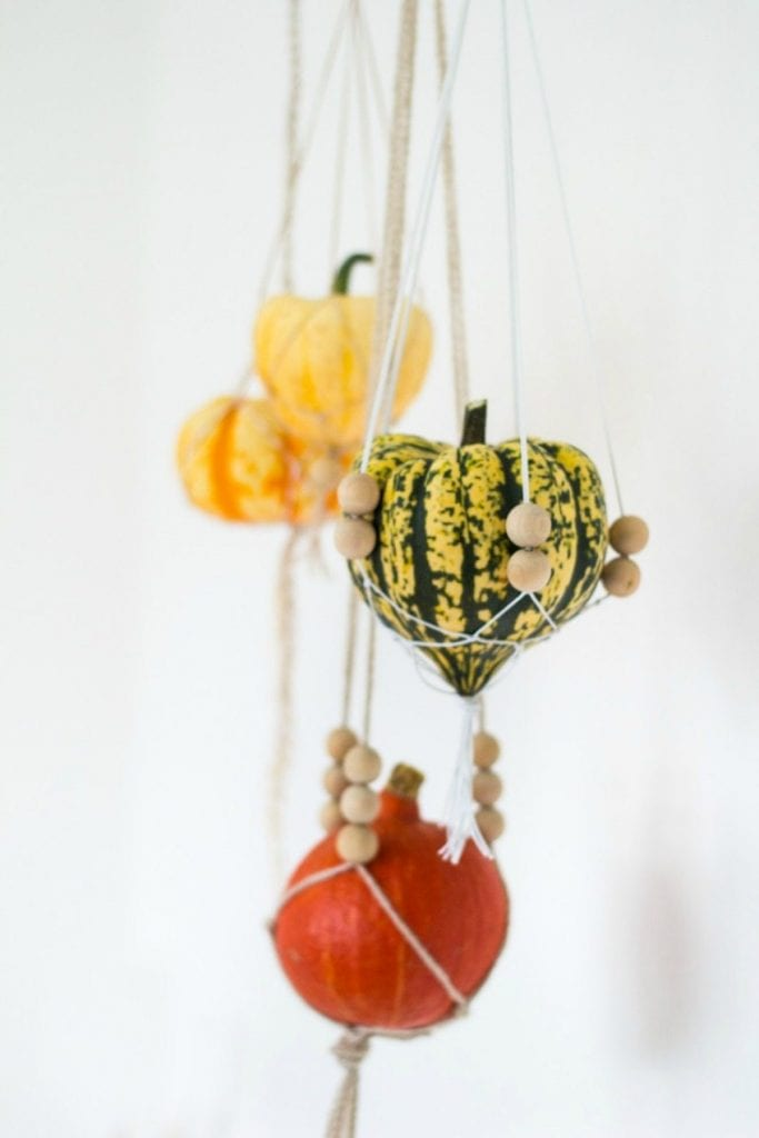 Macrame hanging gourds and pumpkins by Fall for DIY