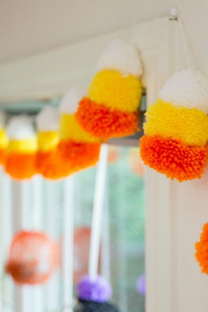 DIY Yarn Candy Corn Pompom Banner