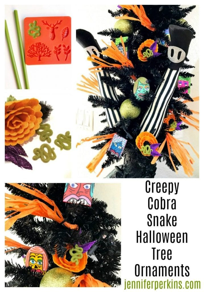Craft Some Creepy Cobra Snake Ornaments for Your Halloween Tree Jennifer Perkins #halloween #halloweentree #halloweenornaments