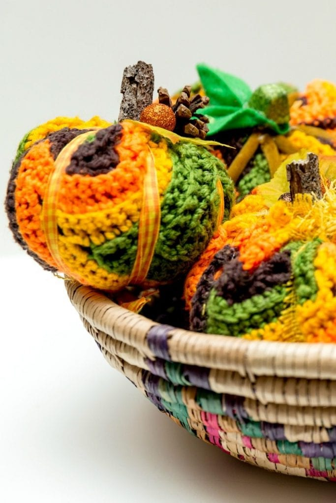 DIY pumpkins made from thrifted afghans by Jennifer Perkins