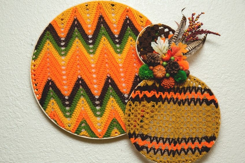 Vintage crocheted afghans from the thrift store up-cycled into a festive fall wreath by Jennifer Perkins