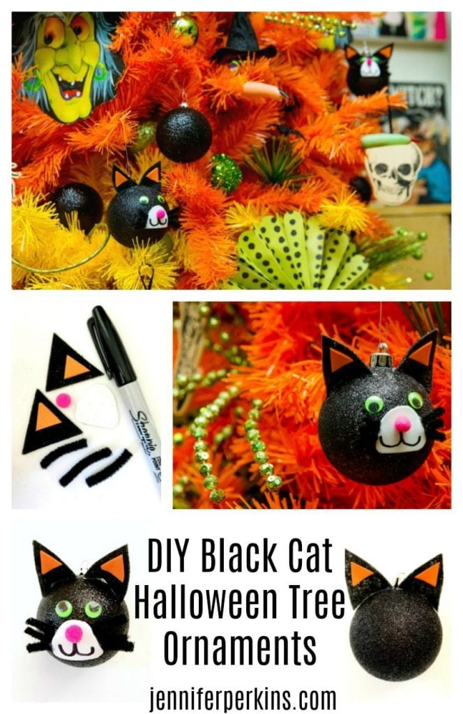 DIY Black Cat Ornaments Jennifer Perkins #halloweenornaments #halloweendecor #blackcatornaments #diyhalloweendecor