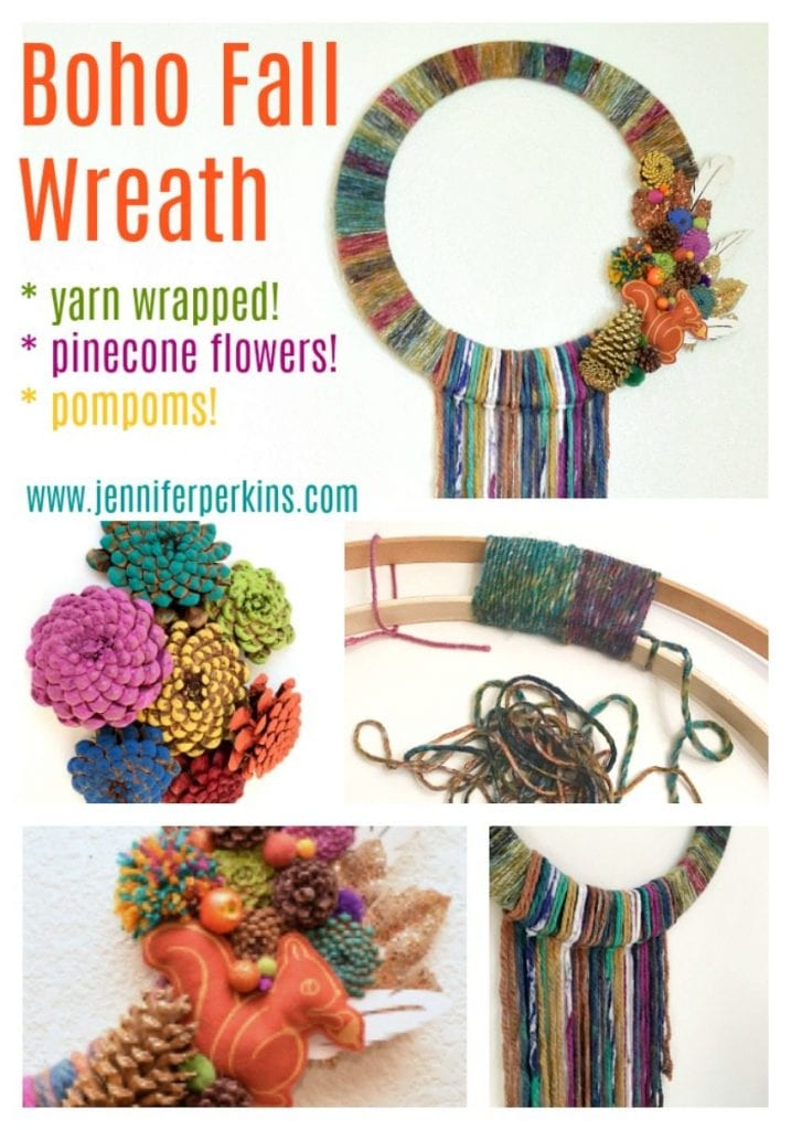 Yarn wrapped boho fall wreath by Jennifer Perkins for DIY Network