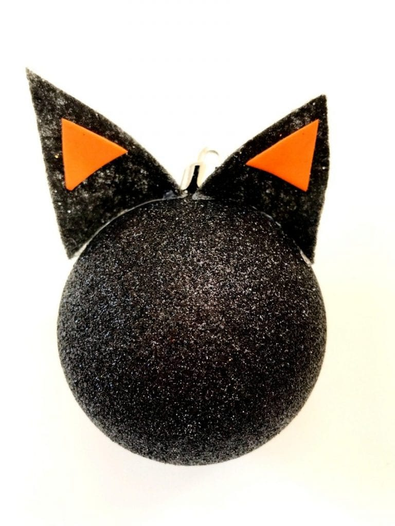 Ears for a black cat ornament by Jennifer Perkins