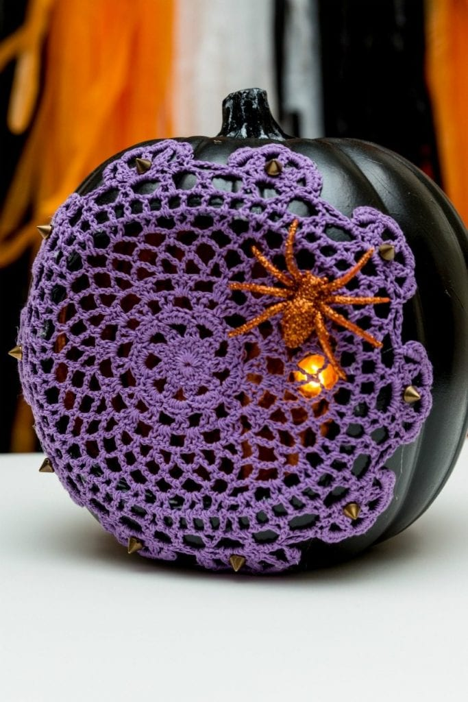 How to turn a pumpkin into a Halloween spiderweb light with a doily by Jennifer Perkins