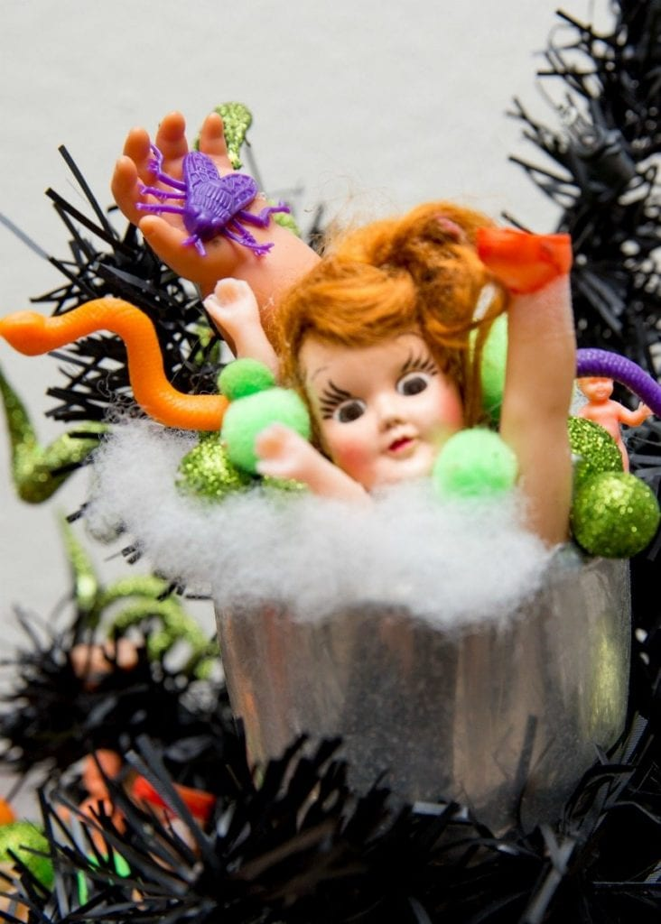 Creepy Halloween ornaments made from broken dolls by Jennifer Perkins