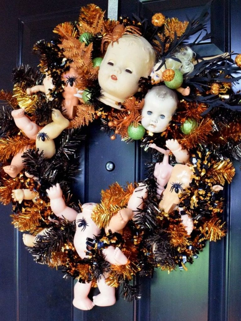 Halloween doll wreath by Jennifer Perkins
