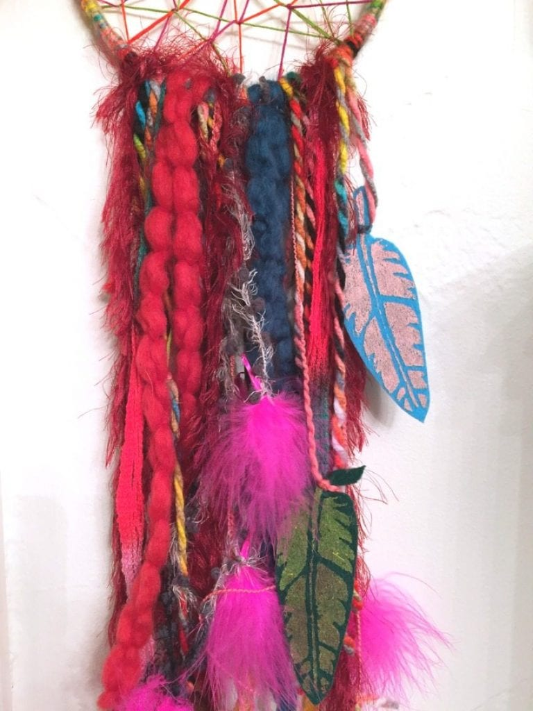 Colorful DIY boho dreamcatcher by Jennifer Perkins