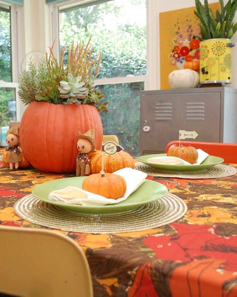 Fun fall table setting for Friendsgiving by Jennifer Perkins