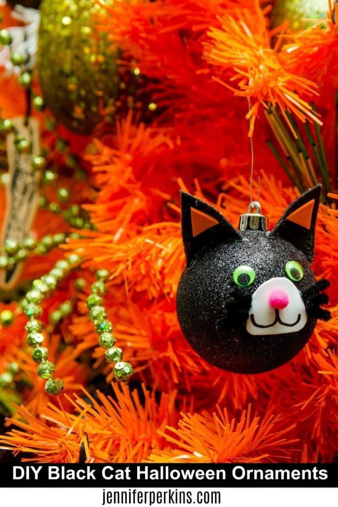 Black Cat Ornament DIY for a Halloween Tree by Jennifer Perkins